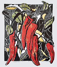 Chiles 32 by Ouida  Touchon (Woodcut Print)