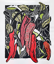 Chiles 18 by Ouida  Touchon (Woodcut Print)