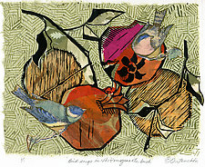 Birdsongs in the Pomegranate Bush by Ouida  Touchon (Monotype Print)