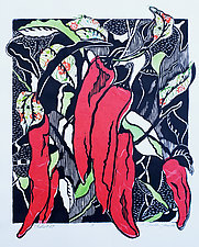 Chiles No.24 by Ouida  Touchon (Woodcut Print)