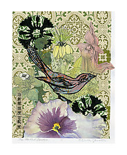 The Walled Garden by Ouida  Touchon (Mixed-Media Collage)
