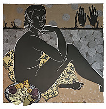 Persephone in the Night Garden by Ouida  Touchon (Linocut Print)