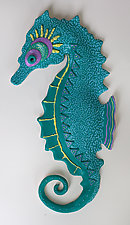Blue Seahorse by Byron Williamson (Ceramic Wall Sculpture)