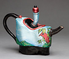 Redbird Tea Pot by Byron Williamson (Ceramic Sculpture)