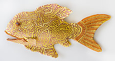 Golden-Eyed Grouper by Byron Williamson (Ceramic Wall Sculpture)