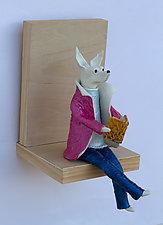 Dog Reader by Byron Williamson (Ceramic Wall Sculpture)