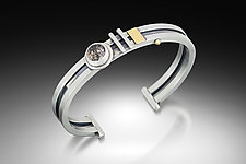 Quartz Wire Cuff by Michele LeVett (Gold, Silver & Stone Bracelet)