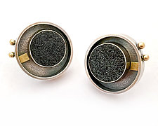 Black Drusy Circle Studs by Michele LeVett (Gold, Silver & Stone Earrings)