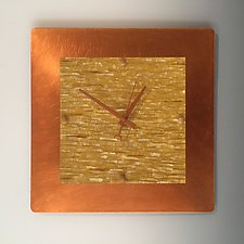 Yellow Square by Linda Lamore (Metal Clock)