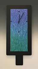 Large Tanzanite and Emerald Blend on Black by Linda Lamore (Metal Clock)
