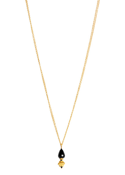 Faceted Black Spinel and Gold Granulation Necklace
