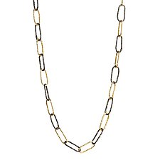 Morgan Black Rhodium and Gold Vermeil Large Link Necklace by Tracy Arrington (Gold & Silver Necklace)