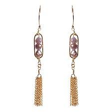Camille Blush Pearl Tassel Earrings by Tracy Arrington (Gold & Pearl Earrings)