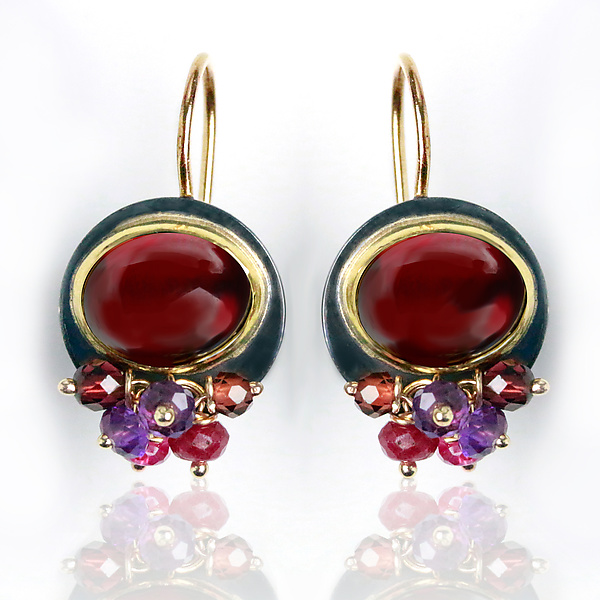 Garnet Earrings with Amethyst and Pink Sapphire Fringe