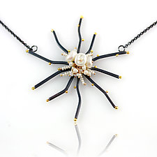 Spiked Flower Necklace with Pearl Cluster by Wendy Stauffer (Silver & Pearl Necklace)