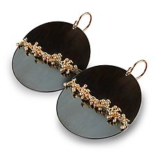 Midnight Discs with Gold Woven Sprout Seam Earrings by Wendy Stauffer (Jewelry Earrings)