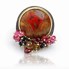 Poppy Jasper Ring with Gemstone Fringe by Wendy Stauffer (Gold, Silver & Stone Ring)