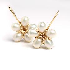 Pearl Flower Dangle Earrings by Wendy Stauffer (Gold & Pearl Earrings)