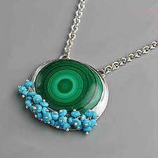 Malachite Pendant with Sleeping Beauty Turquoise Fringe Necklace by Wendy Stauffer (Silver & Stone Necklace)