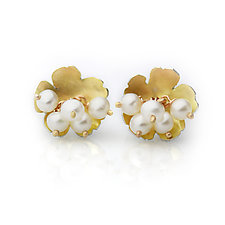 Golden Daisy Posts with Pearl Clusters by Wendy Stauffer (Gold, Silver & Pearl Earrings)
