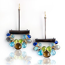 Earth, Ocean, & Sky Dangle Earrings by Wendy Stauffer (Gold, Silver & Stone Earrings)