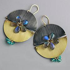 Labradorite Flower Split Disc Earrings by Wendy Stauffer (Gold, Silver & Stone Earrings)