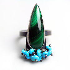 Malachite Ring with Turquoise Fringe by Wendy Stauffer (Silver & Stone Ring, Size 6.25)