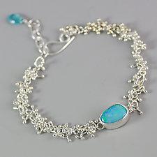 Blue Green Australian Opal Silver Sprouts Bracelet by Wendy Stauffer (Silver & Stone Bracelet)