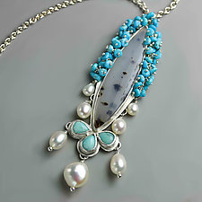Montana Agate Pendant with Draped Pearls and Sleeping Beauty Turquoise Fringe by Wendy Stauffer (Silver & Stone Necklace)