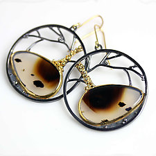 Montana Agate Tree Circles Earrings by Wendy Stauffer (Gold, Silver & Stone Earrings)