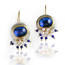 Kyanite Dangle Earrings with Pearl and Lapis Spray by Wendy Stauffer (Gold, Silver & Stone Earrings)