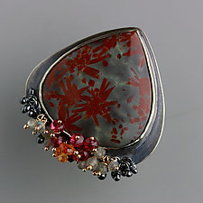 Stellated Jasper Ring with Gemstone Fringe by Wendy Stauffer (Gold, Silver & Stone Ring, Size 8.75-9.25)