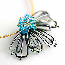 Midnight Petals and Blue Topaz Flower Necklace by Wendy Stauffer (Gold, Silver & Stone Necklace)