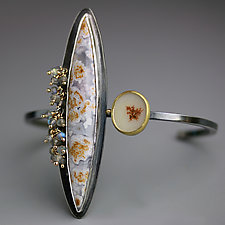 Calico Agate and Dendritic Agate Cuff Bracelet by Wendy Stauffer (Gold, Silver & Stone Bracelet)