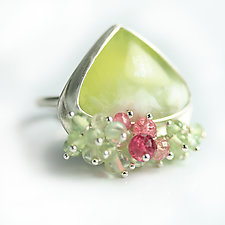 Lemon Prehnite Ring with Gemstone Fringe by Wendy Stauffer (Silver & Stone Ring, Size 6.25)