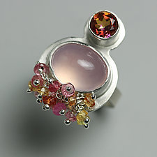 Topaz, Rose Quartz and Sapphire Cluster Ring by Wendy Stauffer (Silver & Stone Ring, Size 6.75)