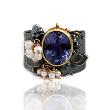 Blooming Iolite Wide Band Ring by Wendy Stauffer (Gold, Silver, Pearl & Stone Ring)