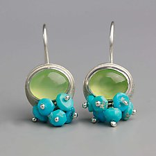 Prehnite Dangle Earrings with Turquoise Clusters by Wendy Stauffer (Silver & Stone Earrings)
