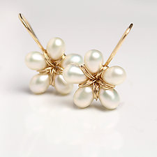 Pearl Flower Dangle Earrings by Wendy Stauffer (Gold & Pearl Earrings)
