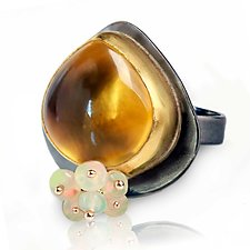Honey Quartz Ring with Opal Fringe by Wendy Stauffer (Gold, Silver & Stone Ring)