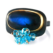 Blue Labradorite Rectangle Ring with Blue Topaz Cluster by Wendy Stauffer (Gold, Silver & Stone Ring, Size 8.25-8.75)