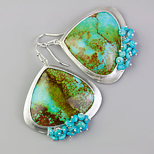 Bold Arizona Turquoise Earrings with Turquoise Fringe by Wendy Stauffer (Silver & Stone Earrings)