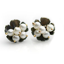 Midnight Daisy Posts with Pearl Clusters by Wendy Stauffer (Gold, Silver & Pearl Earrings)