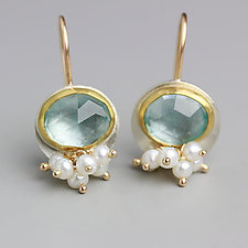 Sky Blue Topaz Dangle Earrings with Pearl Clusters by Wendy Stauffer (Gold & Stone Earrings)