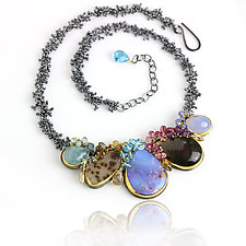 Boulder Opal Arc Necklace with Gemstone Fringe by Wendy Stauffer (Gold, Silver & Stone Necklace)