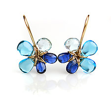 True Blue Topaz and Kyanite Flower Earrings by Wendy Stauffer (Gold & Stone Earrings)