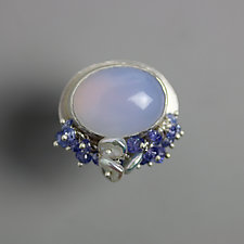 Natural Blue Chalcedony Ring with Tanzanite and Pearl Fringe by Wendy Stauffer (Silver & Stone Ring)
