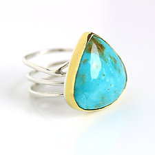 Arizona Turquoise Ring with Swirled Band by Wendy Stauffer (Gold, Silver & Stone Ring, Size 9.5)