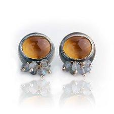 Honey Quartz Post Earrings by Wendy Stauffer (Gold, Silver & Stone Earrings)