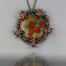 Poppy Jasper Bramble Pendant Necklace by Wendy Stauffer (Gold, Silver & Stone Necklace)